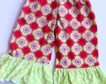 Ruffle pants Girls pink, red, lime green polka dot ruffle pants Michael MillerToddler ruffle pants ruffle pants michael miller
