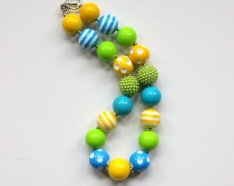 girls chunky bead necklace girl bubblegum necklace chunky bubblegum bead necklace yellow aqua lime green  necklace summer necklace