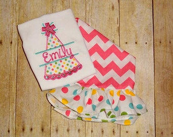 toddler Birthday outfit  Birthday ruffle pants set  Birthday hat with name girls Chevron and polka dot ruffle pants set birthday clothing