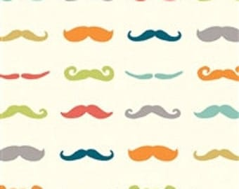Just for Fun Staches - Organic Cotton by Birch Fabrics - 1/2 yard - by the half yard