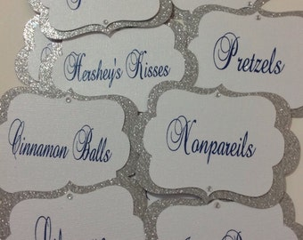 Candy Buffet Tags, Candy Buffet Jar Labels, Food Tags, Food Lables, Sliver Candy Tags, Blue Candy Tags