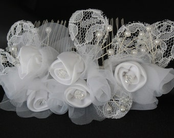 WEDDING HAIR COMB, hanmade white rose fabric crystal hair comb, pearl comb, wedding accessories