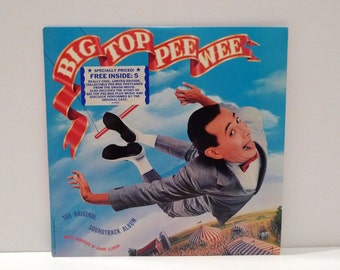 Pee Wee Herman Vinyl Vintage Record Danny Elfman Soundtrack Big Top Pee Wee Movie Comedy 1980s Rare Postcard Inserts and Album Like New