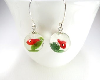 Red Fish Earrings Fish Jewelry Goldfish Resin Ball Earrings Tiny Fish Gift Water Drop Earrings Fish Bowl Earrings Little Animal Tiny
