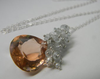 SALE. necklace. morganite. aquamarine. swiss blue topaz. seed pearls.