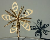 Large modern Christmas tree topper / star - laser-cut birch wood, in copper-gold