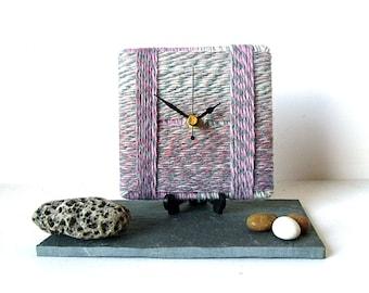 Wool Desk Clock / Small Wall Clock Marbled Wool Yarn - Baby Light Pink Light Grey White Clock
