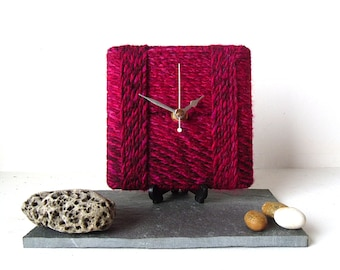 Red Desk Clock / Small Wall Clock Marbled Chunky Wool Red Fuchsia Hot Pink Maroon Burgundy Yarn
