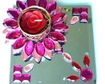 Wedding Decoration, Wedding Centerpiece, Candle Holder, Lotus Candle, Mirror Modular Rangoli
