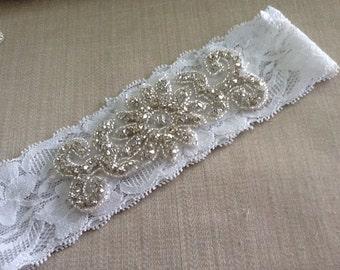 Sale-Wedding Garter,Bridal Garter, Crystal and Rhinestone Garter,Big Garter