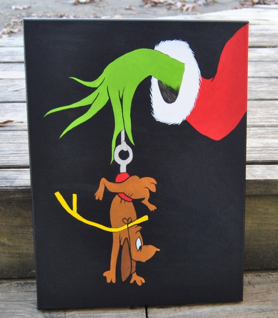 How The Grinch Stole Christmas Canvas Painting Max Grinch Wall Art ...