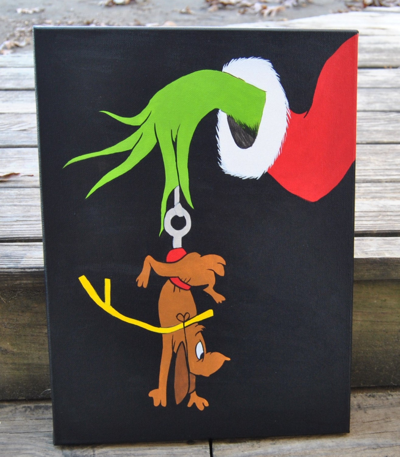 How The Grinch Stole Christmas Canvas Painting Max Grinch Wall