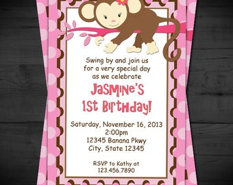 Sweet and Pink Monkey Invitation