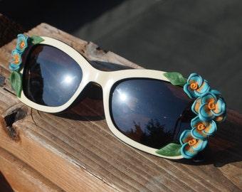 Cream and Aqua Floral Sunglasses