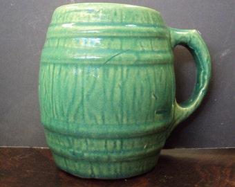 Mug 1926 Nelson McCoy Light Blue-Green Banded Barrel