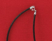 "Black Genuine Leather Sterling Silver Clasp Cord Necklace Choice of 14"", 16"", 18"", 20"" Inch Length Sizes"