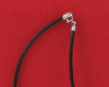 "2mm Black Leather Cord Necklace With Sterling Silver Clasp 16"" Inch"