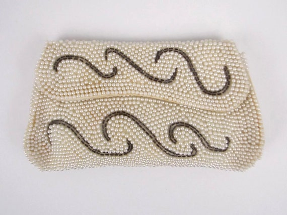 Cream Pearl Beaded Clutch - Bridal Purse - Vintage 1950s Evening Bag by Susan