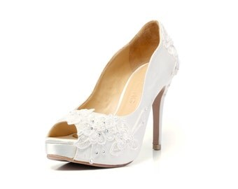 Ivory White LaceAdorned Wedding Shoes,Ivory White Bridal Heels,Ivory White Lace Wedding Shoes, Ivory White Pearl Bridal Heels