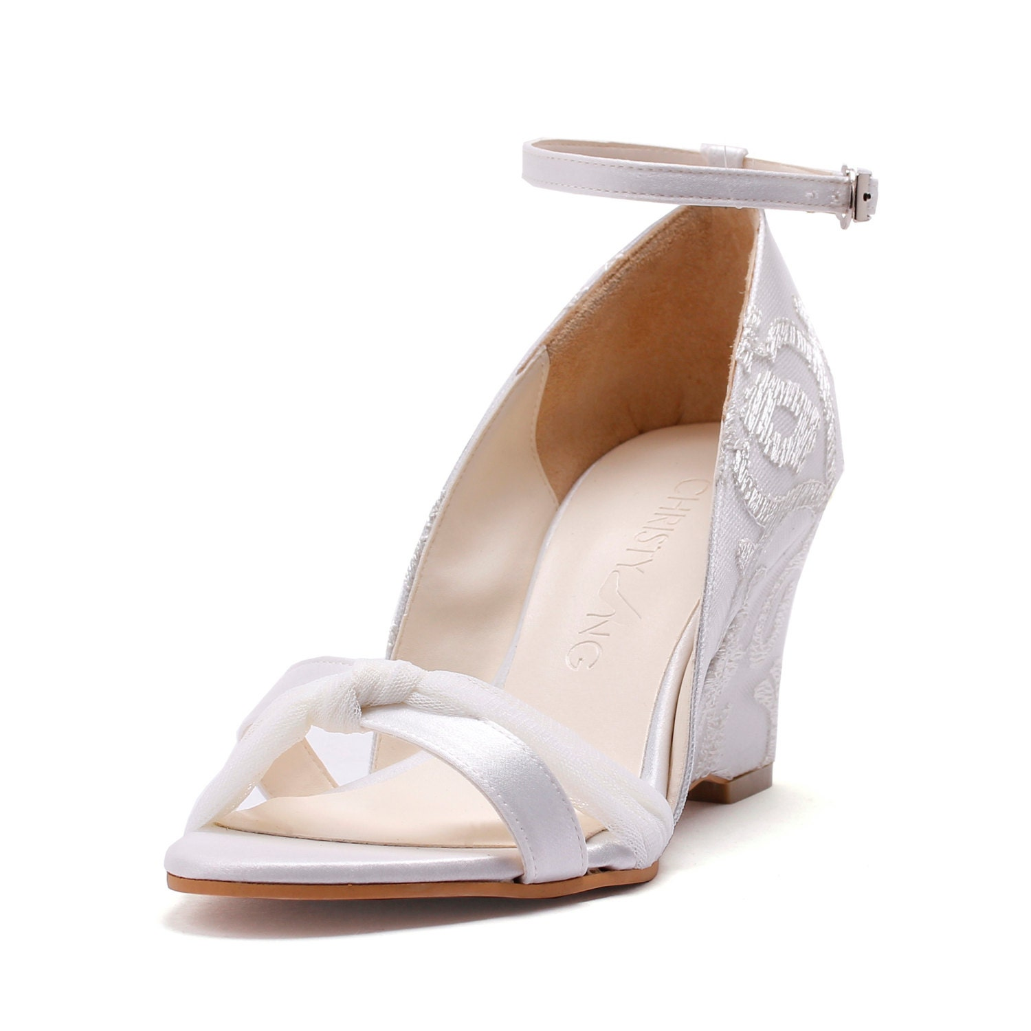 Bella Bells Ivory Lace Chiffon Wedge Wedding Shoes Ivory
