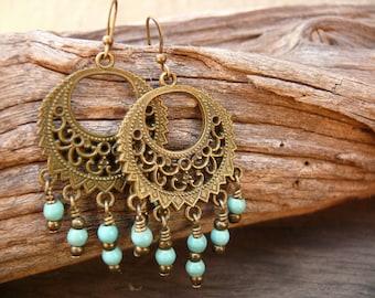 Boho turqoise earrings. Antique brass turquoise beads. Chandelier earrings. Bohemian jewelry