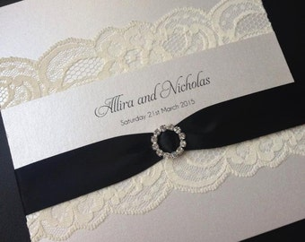 Lace Sleeve Wedding Invitation