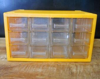 Yellow Industrial Danish 12 Drawer Cabinet