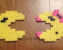 Pacman Ms Pacman, Perler Beads, video game, geekery, magnet, ghosts, christmas ornament