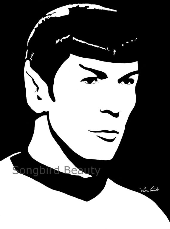 Spock fan art print 8x10 star trek leonard nimoy celebrity for Black and white celebrity prints