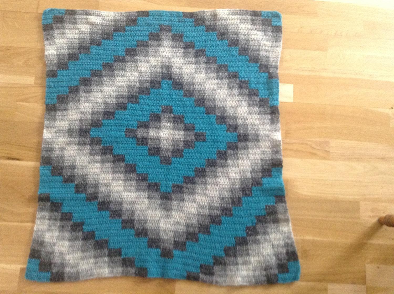 Crochet baby blanket warm handmade from icelandic wool by klettur