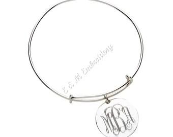 Monogrammed Engraved Silver Charm Bangle Bracelet