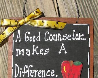 Teacher GIfts  Item #43 Counselor Hand Painted Wooden Teacher Slate