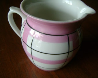 Vintage Creamer Pitcher Pink and White Shabby Chic