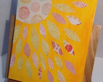Sublime Sunlight Original, Mixed Media, Artwork, Whimsical, Yellow, Orange, Home Decor, Nursery, Kitchen