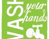 """8x10 """"Bathroom Rules -- Wash Your Hands"""" Bathroom Wall Art"""