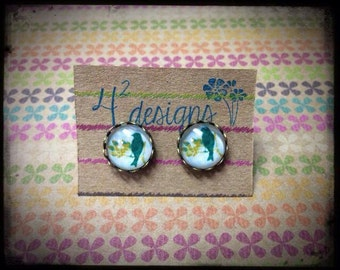Turquoise birds- 12mm studs