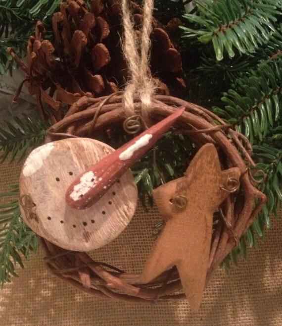 Primitive Snowman & Star Grapevine twig Christmas Ornament Jute Twine Rusty Wire