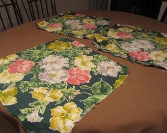 vintage 40s tropical bark cloth, greens, pink, cream, yellow
