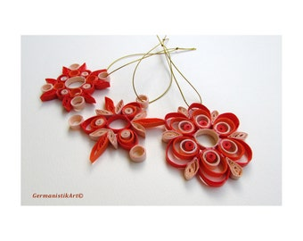 Quilling Snowflake Christmas Decoration, Christmas Set, Christmas Home Decor, Christmas tree Ornaments, Christmas hanging