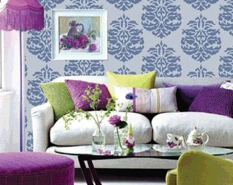 Large stencil wall ideas, DIY reusable wall stencil, Damask wall stencil,DS-09