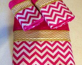 Fuschia Pink White and Gold Chevron Bath Towel Set (Ready To Ship)