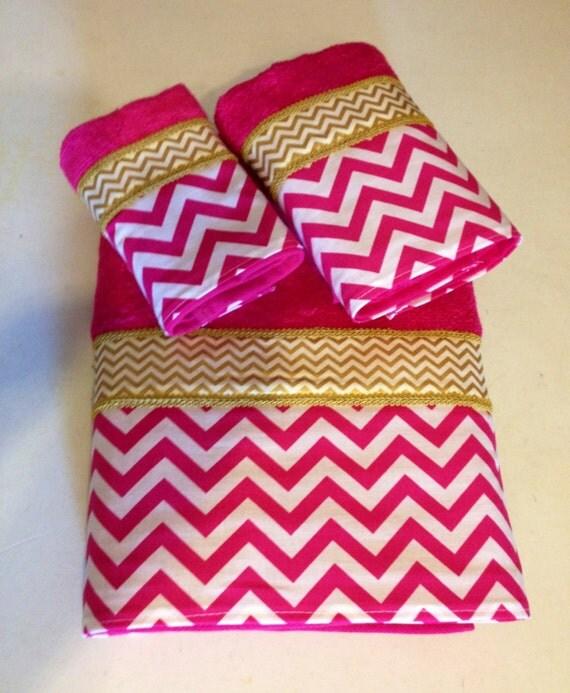 Pink And White Bathroom: Fuschia Pink White And Gold Chevron Bath Towel Set Ready To