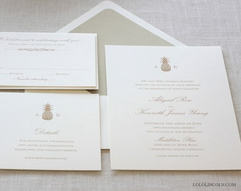 Pineapple Wedding Invitations, Gold Pineapple Wedding Invitation, Hawaiian Wedding Invitation, Destination Wedding Invitation
