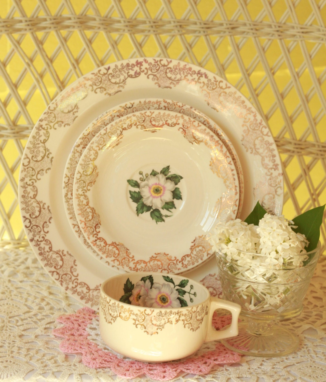 vintage china dinnerware gold trimmed dishes antique dishes