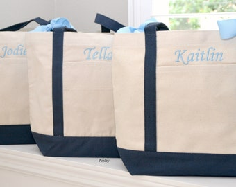 Set of 6 Personalized Wedding Bridesmaids Totes Gifts in Navy