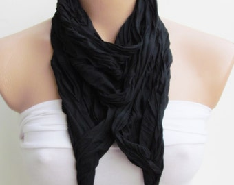 Black Jewelry Scarf - Headband - Necklace - Combed Cotton Scarf - Infinity Scarf - New Season - Long Scarf