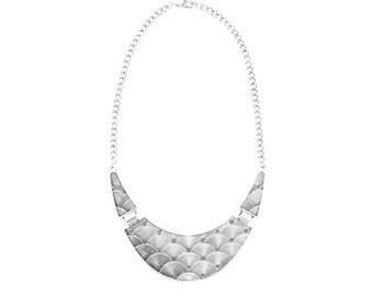 Silver egyptian statement necklace, silver bib necklace, silver chunky collar necklace