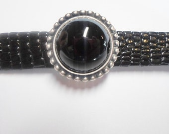 10mm Flat Leather Slider, Black Onyx Gemstone Slider, JBB Findings Setting, Antique Silver bracelet finding, jewelry supply,