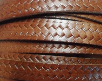 Pre Cuts, High Quality Italian Brown Woven 10mm flat Leather Cord,