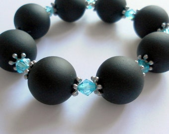 Chunky Black and Blue Bracelet